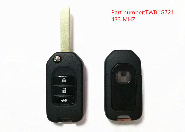 Black 3 Button Honda Remote Key 433Mhz With Part Number TWB1G721 Chip 47